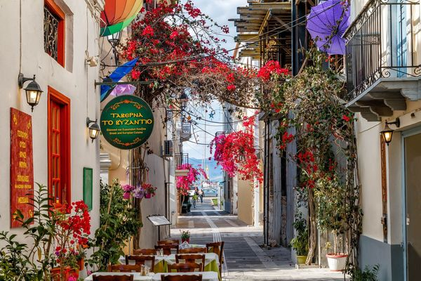 Nafplion Greece Romantic Flowers Old City Palamidi