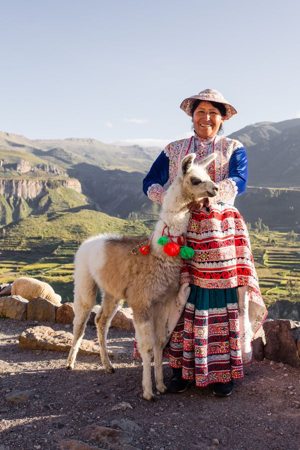 Colca women with lama