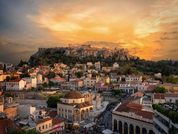 Acropolis xgrec Athens Sunset Distance Sky Monastiraki
