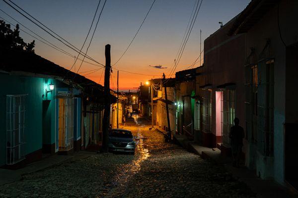 Trinidad street by night