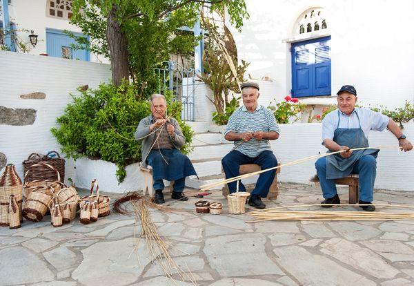 Tinos Blue White Houses Braiding Workshop Locals xgrei Island Cyclades
