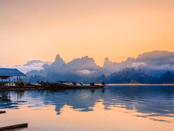 Khao sok National Park Boat Morning Mist